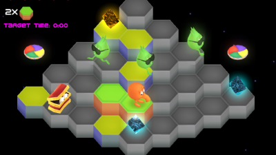 "These are raised hexagons, not cubes. The first part of ""Q*bert"" has ""cube"" right in it, dudes. Come on!"